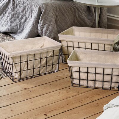 3 Piece Rectangular Minimalist Styled Basket Set