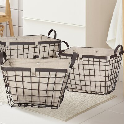 3 Piece Rectangular Urban Styled Basket Set