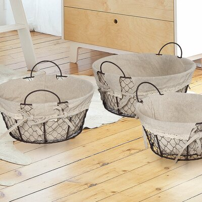 3 Piece Oval Shaped Minimalist Basket Set