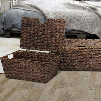 2 Piece Dark Brown Chest Basket Set