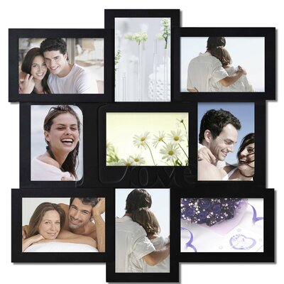 9 Opening Decorative Love Wall Hanging Collage Picture Frame Color: Black