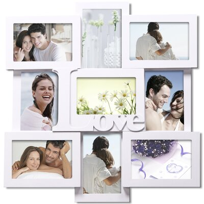 9 Opening Decorative Love Wall Hanging Collage Picture Frame Color: White