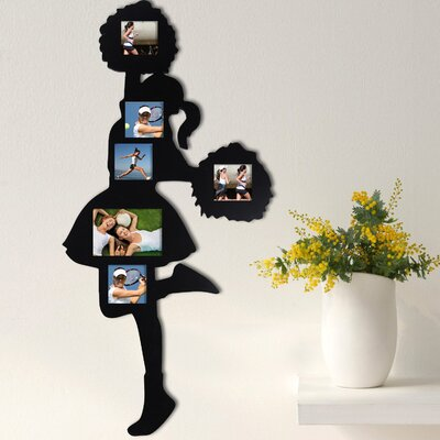 6 Opening Decorative Cheerleader Wall Hanging Collage Picture Frame Color: Black