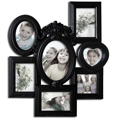 7 Opening Decorative Wall Hanging Collage Picture Frame Color: Black