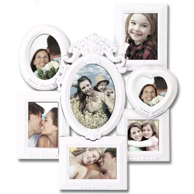 7 Opening Decorative Wall Hanging Collage Picture Frame Color: White