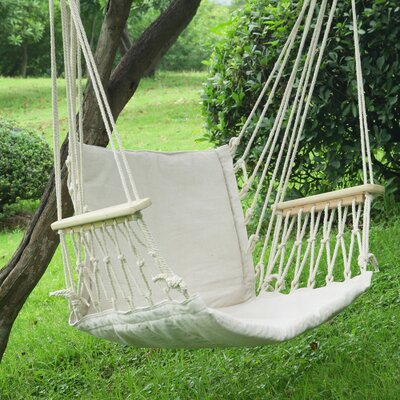 Tree Hanging Suspended Indoor/Outdoor Cotton Chair Hammock Color: Natural