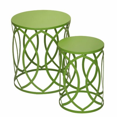 2 Pieces Home Garden Accent Wire Round Stool Finish: Green