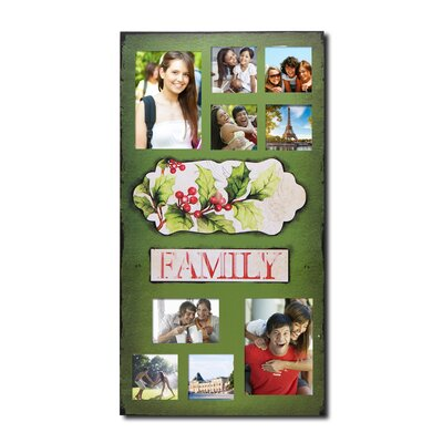 "9 Opening Decorative Christmas Holiday ""Family"" Wall Hanging Collage Picture Frame"