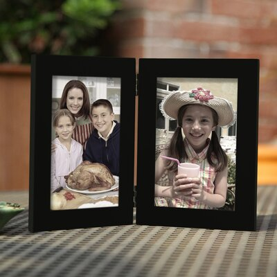 2 Opening Decorative Table Top Picture Frame Color: Black