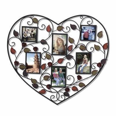 6 Opening Decorative Heart Shape Picture Frame