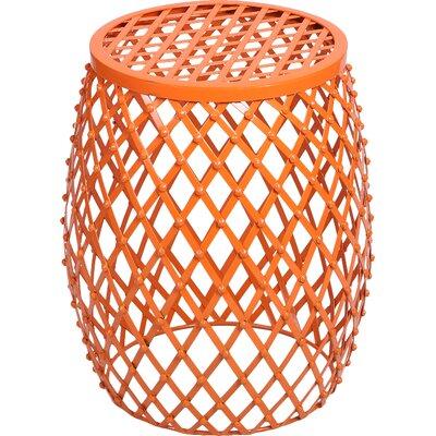 Cevallos Home Garden Accent Wire Round Stool Finish: Orange Red