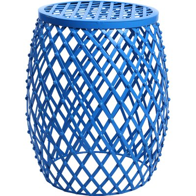 Cevallos Home Garden Accent Wire Round Stool Finish: Blue