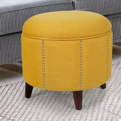 Button Tufted Lift Round Storage Ottoman Upholstery: Yellow