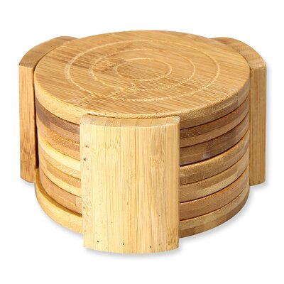 7 Piece 100% Natural Bamboo Kitchen Living Room Coasters Set KA0005