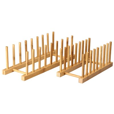 2 Piece 100% Natural Bamboo Kitchen Dish / Lid Drying Storage Rack Set