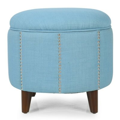 Button Tufted Lift Round Storage Ottoman Upholstery: Blue