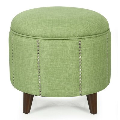 Button Tufted Lift Round Storage Ottoman Upholstery: Green