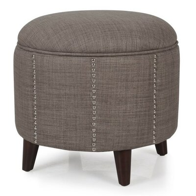 Button Tufted Lift Round Storage Ottoman Upholstery: Dark Brown