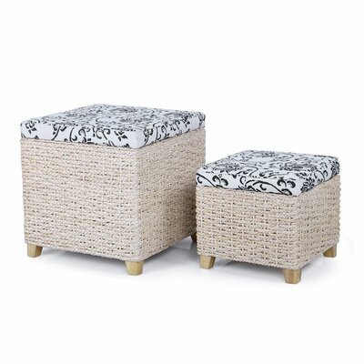2 Piece Flowers Print Storage Ottoman Set