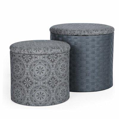 2 Piece Round Storage Ottoman Set