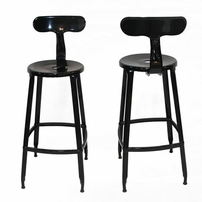 30 inch Bar Stool Upholstery: Black