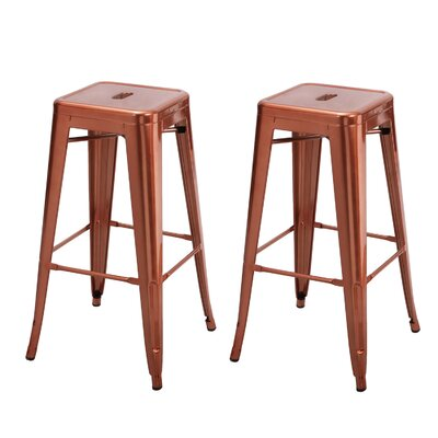 Vivian Bar Stool (Set of 2) Color: Glossy Indian Red