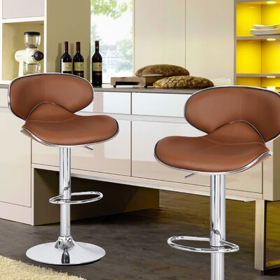 Adjustable Height Swivel Bar Stool Upholstery: Light Coffee