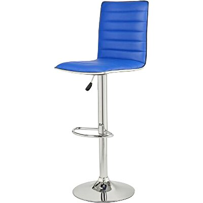 Savoy Adjustable Height Swivel Bar Stool Upholstery: Blue