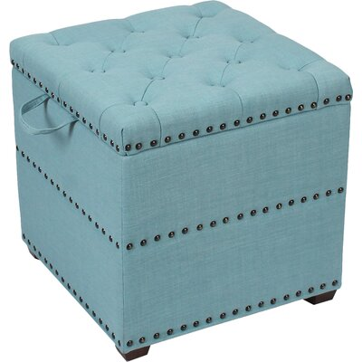 Audane Square Cube Ottoman Upholstery: Blue