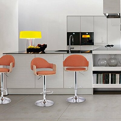 Adjustable Height Swivel Bar Stool Upholstery: Orange