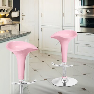 Adjustable Height Swivel Bar Stool (Set of 2) Finish: Light Pink