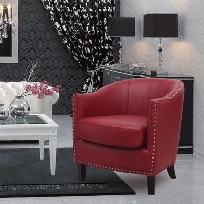 Extra-Comfortable Leather Barrel Chair Upholstery: Red