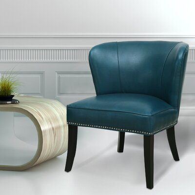 Extra-Comfortable Leather Slipper Chair Upholstery: Aqua