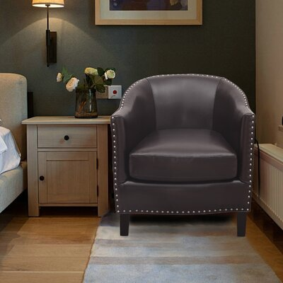 Extra-Comfortable Leather Barrel Chair Upholstery: Chocolate Brown