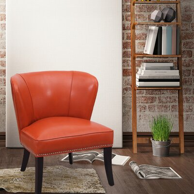 Extra-Comfortable Leather Slipper Chair Upholstery: Orange