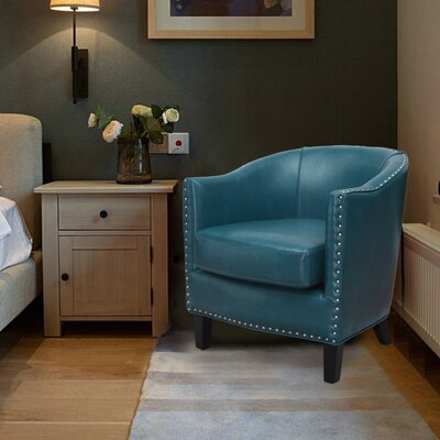 Extra-Comfortable Leather Barrel Chair Upholstery: Aqua