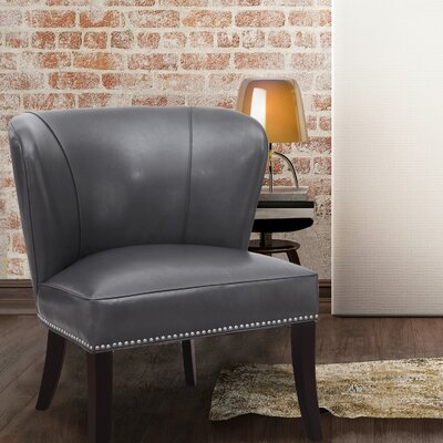 Extra-Comfortable Leather Slipper Chair Upholstery: Grey