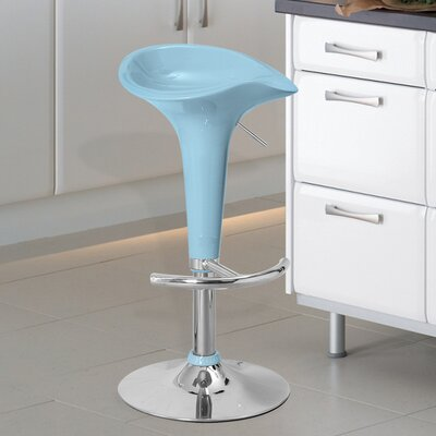 Adjustable Height Swivel Bar Stool Finish: Light Blue