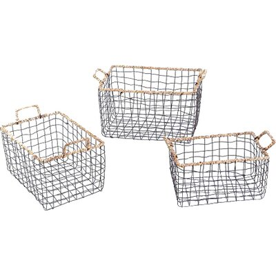 3 Piece Multi-Purpose Rectangular Iron Wired Basket Set