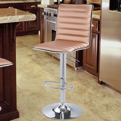 Manuel Adjustable Height Swivel Bar Stool Upholstery: Rose Gold