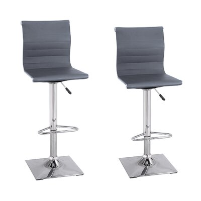 Adjustable Height Swivel Bar Stool Upholstery: Dark Gray