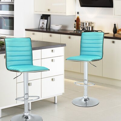 Manuel Adjustable Height Swivel Bar Stool Upholstery: Crystal Blue