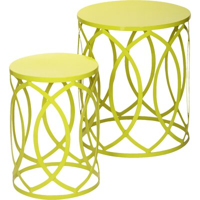 2 Pieces Home Garden Accent Wire Round Stool Finish: Chartreuse