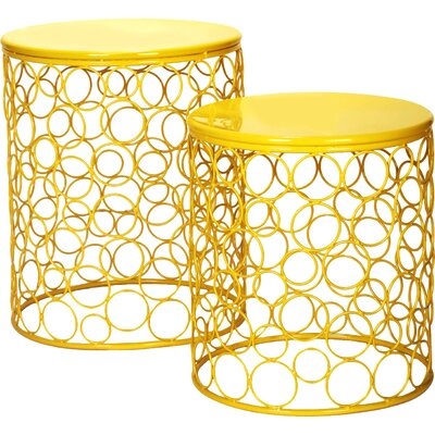 Quisenberry 2 Piece Accent Stool Set Finish: Yellow