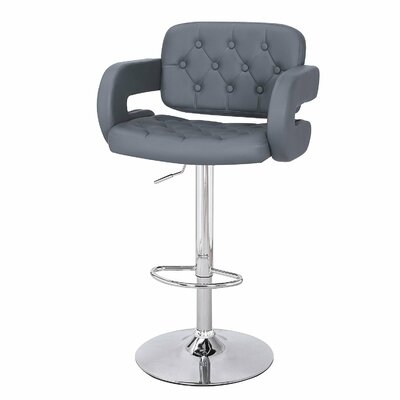 Adjustable Height Swivel Bar Stools Upholstery: Gray
