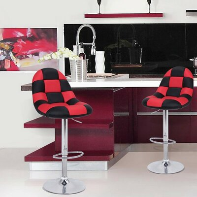 Adjustable Height Swivel Bar Stool with Cushion Upholstery: Black/Red