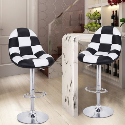 Adjustable Height Swivel Bar Stool with Cushion Upholstery: Black / White