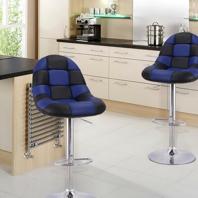 Adjustable Height Swivel Bar Stool with Cushion Upholstery: Black/Blue