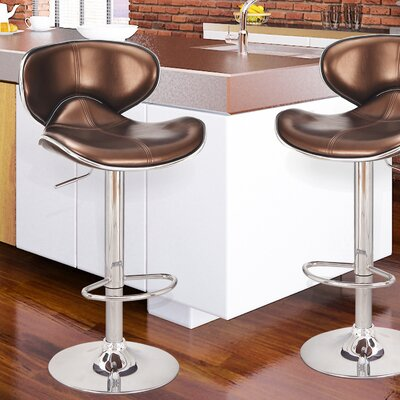 Adjustable Height Swivel Bar Stool Upholstery: Copper Red