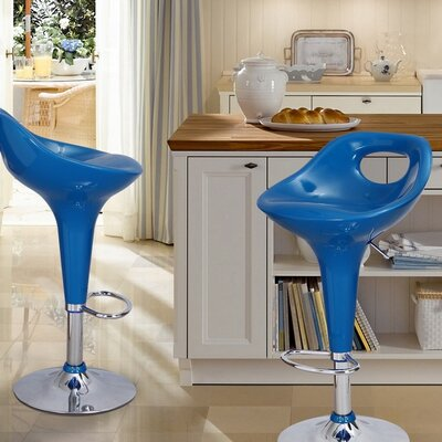 Adjustable Height Swivel Bar Stool Upholstery: Blue